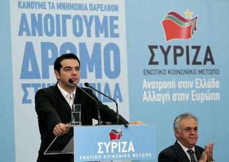 Tsipras avec Yannis Dragasakis qui a été dans le gouvernement de coalition entre le KKE  et la droite en 1990