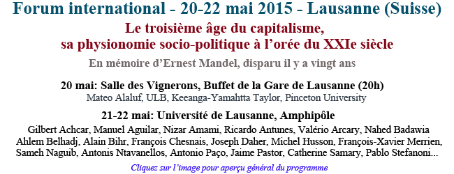 Forum international – 20-22 mai 2015 – Lausanne (Suisse)