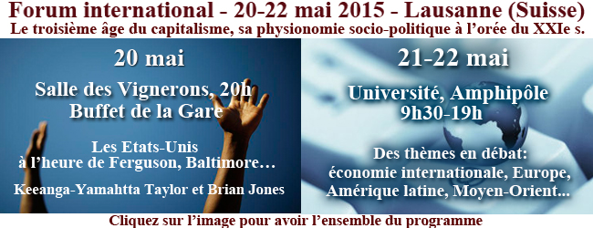Forum international – 20-22 mai 2015 – Lausanne (Suisse)