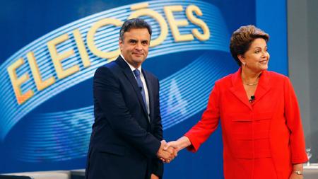 Aécio Neves et Dilma Rousseff lors des élections de 2014
