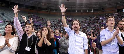 La direction de Podemos: Becansa, Monedero, Gonzales, Iglesias et Errejon