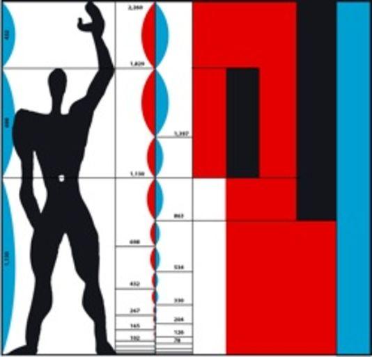 Reproduction du «Modulor», formule de silhouette humaine standardisée inventée en 1943 par Le Corbusier pour adapter l'homme à son espace environnant au plus près.