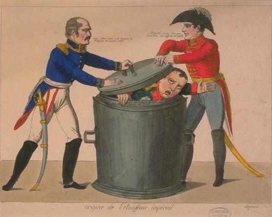 Blücher (feld-maréchal prussien) et Wellington (duc de Wellington, titre donné à Arthur Wellesley). Les deux vainqueurs de la bataille de  Waterloo mettent Napoléon dans les «poubelles de l'histoire»