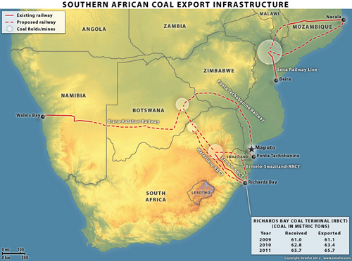 Infrastructures d'exportation du charbon dans la région d'Afrique du Sud