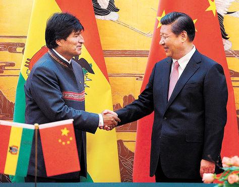 Evo Morales et Xi Jinping au Brésil, en juin 2014, lors d'une réunion des Brics