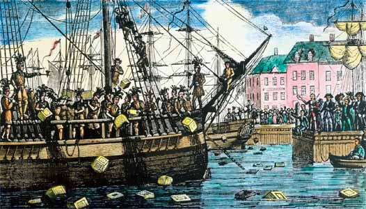 Décembre 1773, le Boston Tea Party: les tensions entre l'Angleterre  et ses colonies