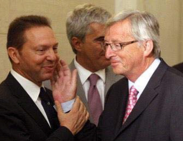 Jean-Claude Juncker et Yanis Stournaras en 2012