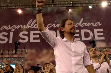 Pablo Iglesias, lors de l'assemblée constitutive de Podemos, dite de Vistalegre