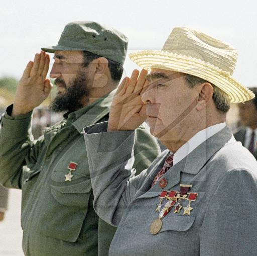 Fidel Castro et Brejnev