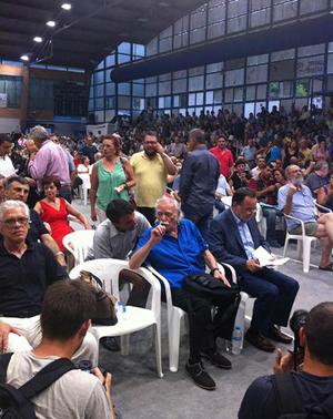 De gauche à droite: John Milios, Manolis Glézos et Panagiotis Lafazanis, le 27 juillet 2015