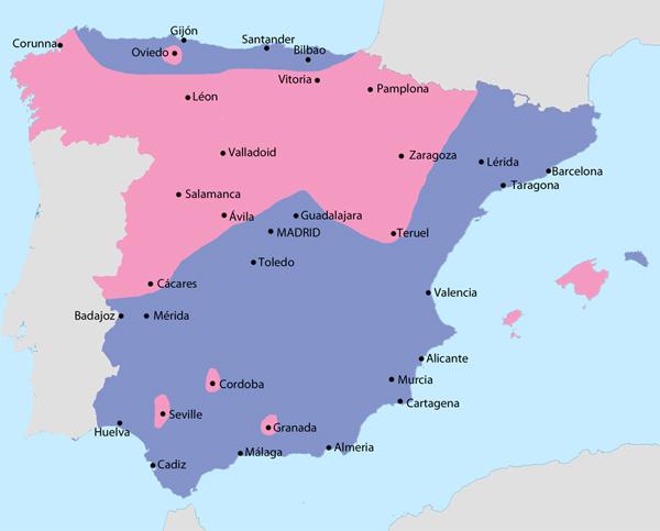 Espagne en juillet 1936: en bleu les régions contrôlées par les Républicains; en rose par les forces dites nationalistes