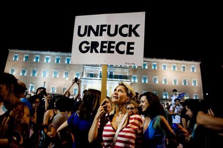 Dimanche soir, devant le Parlement: le NON au plan de la «troïka»: 61,31%; le oui 38,69%; participation: 62,5%