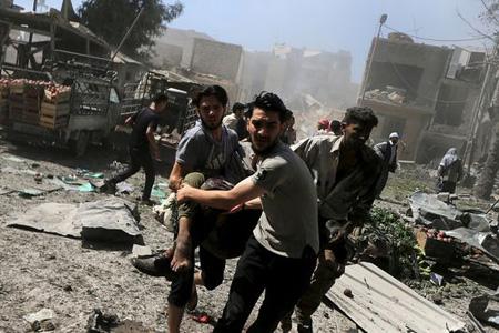 Le marché de Douma (Syrie) avait déjà été bombardé  par les forces gouvernementales le 12 août