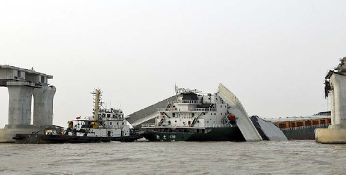 Mai 2008, un pont s'écroule près du port de Ningbo