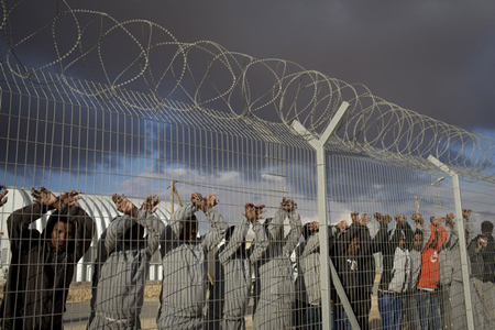 African asylum seekers protest, Holot detention center, Israel,
