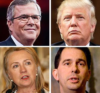 Jeb Bush, Donald Trump,  Hillary Clinton, Scott Walker