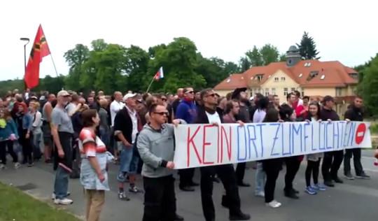 En Saxe, dans la ville de Freital, manifestation contre l'ouverture d'un centre d'hébergement (juillet 2015)