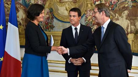 Myriam El Khomri (ministre du Travail), Manuel Valls et Jean-Denis Combrexelle, l9 septembre 2015