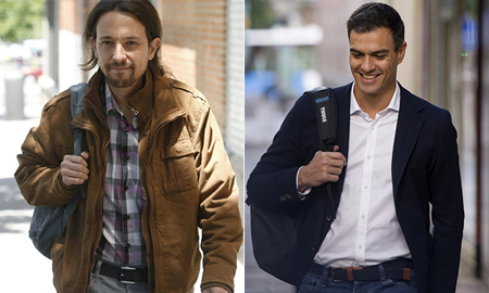 Pablos Iglesias (Podemos) et Pedro Sanchez (PSOE)