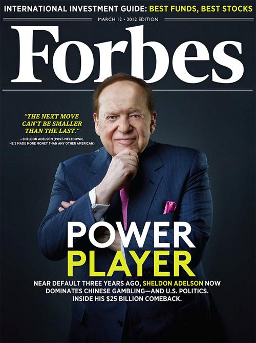 Sheldon Adelson, la première de «Forbes» annonçant sa forte présence dans les casinos de Macao...