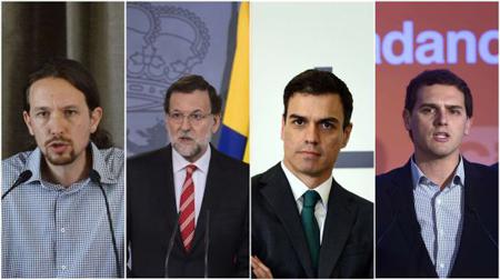 Iglesias (Podemos),Rajoy (PP), Sanchez (PSOE), Rivera (Ciudadanos)