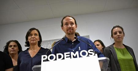 Pablo Iglesias, lors de la conférence de presse le soir des élections en Catalogne