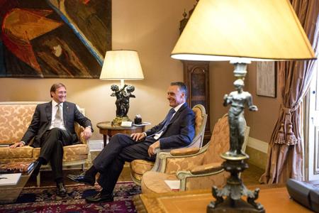 Cavaco Silva, président de la République (à droite), et Passos Coelho, ancien premier ministre