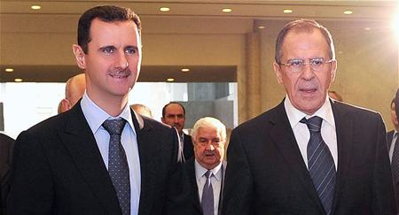 Bachar el-Assad, à Damas, reçoit Sergueï Lavrov, ministre des Affaires étrangères de la Russie