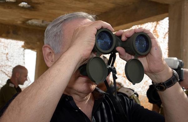 Benyamin Netanyahou inspecte Gaza en octobre 2015