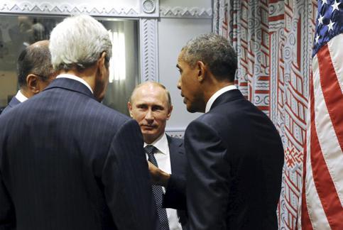Vladimir Poutine, Sergueï Lavrov, Barack Obama et John Kerry, New York, 28 septembre, 2015