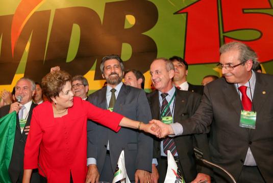 Dilma et Cunha avant la nomination de ce dernier comme président de la Chambre