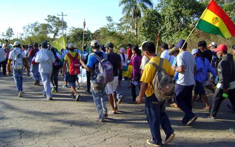 Marche de la Confédération indigène de l'Orient bolivien contre la construction de la route dans le TIPNIS, août 2015