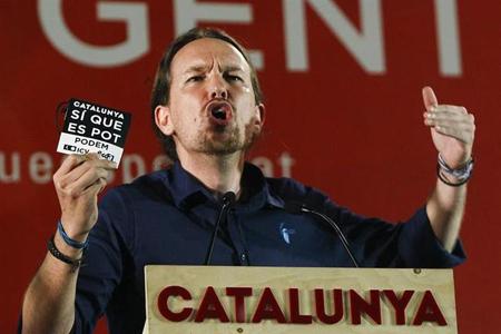 Pablo Iglesias au centre de la campagne électorale du 27 septembre en Catalogne