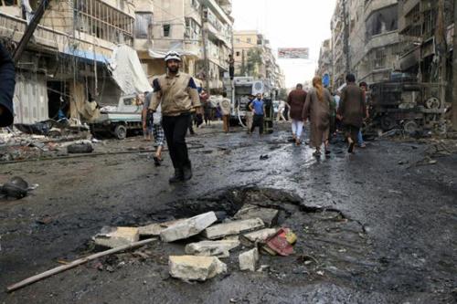 Alep en septembre 2015: suite à un bombardement de de l'armée syrienne