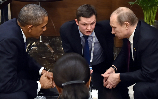 Obama et Poutine lors du G20 à Antalya (Turquie)