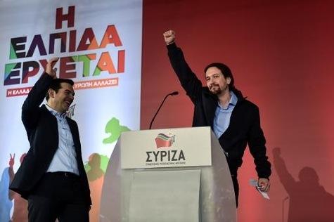 Tsipras (Syriza) et Iglesias (Podemos), le 22 janvier 2015 à Athènes