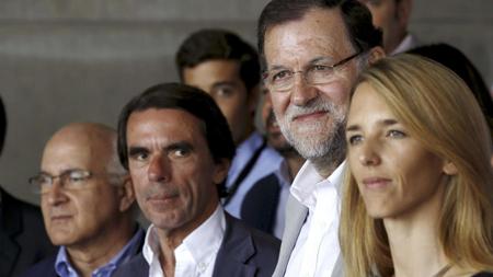 Aznar et Rajoy, en juillet 2015, lancent la campagne électorale du Parti Populaire pour fin 2015