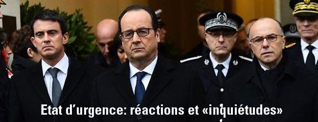 France. Prolongation de l'état d'urgence. Quelques réactions et «inquiétudes»