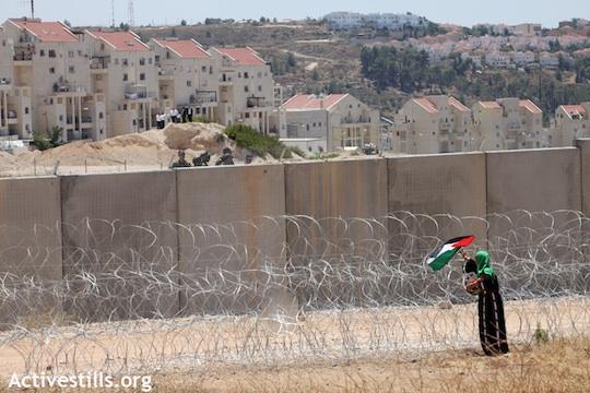 Une femme palestinienne déploie un drapeau palestinien près du mur qui «isole» le village de Bilin