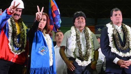Nicolas Maduro, Cristina Kirchner, Evo Morales, Rafael Correa (juillet 2014)