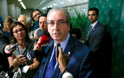 Eduardo Cunha (PMDB, de Rio de Janeiro), le 19 décembre 2015, après la perquisition de son domicile