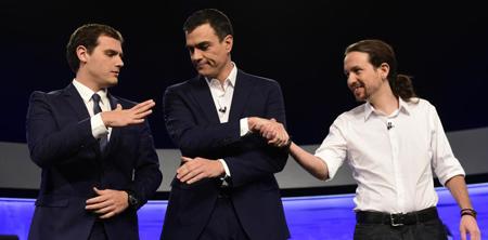 Albert Rivera (Ciudadanos), Pedro Sanchez (PSOE), Pablo Iglesias (Podemos): quel «changement» en débat, le 1er décembre?