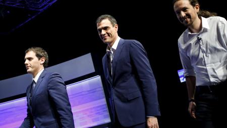 Alberto Rivera (Ciudadanos), Pedro Sanchez (PSOE), Pablo Iglesias (Podemos): un débat sans Mariano Rajoy (PP) le 1er décembre 2015