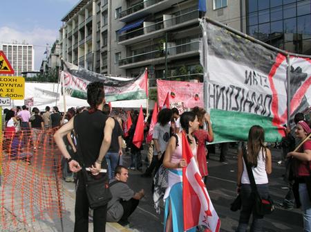 Manifestation contre la guerre de G.W. Bush en Irak, à Athènes