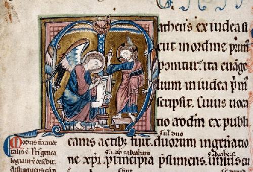 Saint Matthieu écrit, inspiré par le Christ