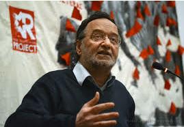 Panagiotis Lafazanis, du Courant de gauche, intervenant lors d'un meeting de DEA (site Rproject)