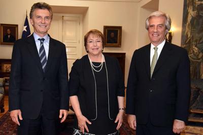 Mauricio Macri, Michelle Bachelet, Tabaré Vazquez