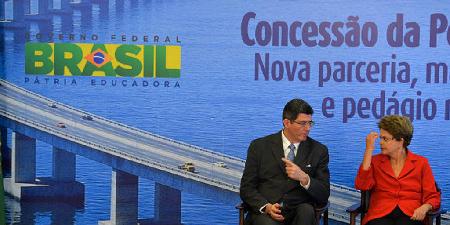 Dilma Rousseff et Joaquim Levy de Bradesco, ministre de Finances, démissionnaire en décembre 2015…