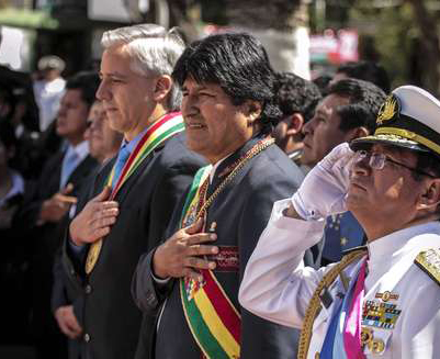 Alvaro Garcia Linera, vice-président, et Evo Morales, président, le jour du «Dia del Mar»