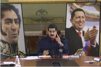 Survillé par Bolivar et applaudi par Chavez, Maduro déclare: «Le Venezuela doit entrer dans une phase de construction d'une nation puissante dans la production» (janvier 2016). De quoi?